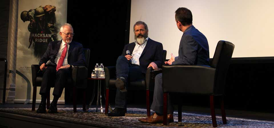 <em>Hacksaw Ridge</em>: Mel Gibson and Robert Schenkkan at the Sheen Center